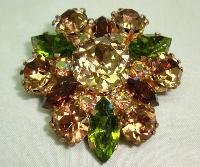 £13.00 - Vintage 50s Qualtiy Green Amber and AB Crystal Diamante Brooch Stunning!