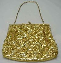 £25.60 - Vintage 1950s Fabulous Gold Bead Evening Purse Handbag