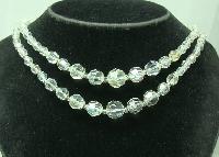 Vintage 50s Fab 2 Row AB Crystal Glass Bead Necklace