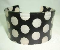 £16.00 - Quirky Black and Clear Spotty Acrylic Lucite Cuff Bangle Super Cute!