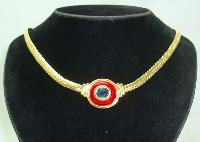 £18.00 - Vintage 80s Red Enamel Blue Diamante Gold Necklace