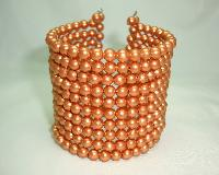 £17.60 - 1950s Stunning Wide 10 Row Gold Faux Pearl Bead Flexible Cuff Bracelet