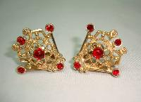 Vintage 60s Signed Sarah Cov Fab Red Diamante Gold Clip On Earrings