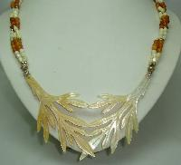 Art Deco Unusual Mother of Pearl Entwined Leaf and Amber Bead Necklace