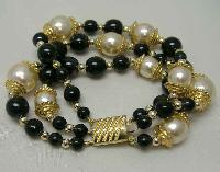 Vintage 80s Fab 3 Row Black Glass and Faux Pearl Bead Gold Bracelet