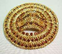 Vintage 50s Fabulous Large Domed Oval Citrine Diamante Goldtone Brooch