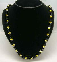 Vintage 50s Black & Yellow Glass Bead Diamante Necklace