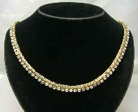 Vintage 50s Sparkling Diamante & Gold Mesh Necklace