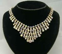 £60.00 - Vintage 50s Sparkling AB Diamante Festoon Bib Gold Necklace WOW