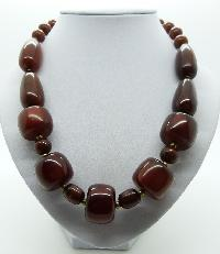 Vintage 70s STYLE Unusual Chunky Brown Moonglow Plastic Bead Necklace 54cms
