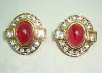 1980s Diamante and Red Cabochon Glass Clip On Gold Earrings - Quality