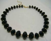 £16.80 - 1950s Chunky Sparkling Black Lucite Bead Necklace WOW