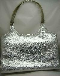 Vintage 60s Groovy Fab Oversize Silver Metallic Top Handle Handbag