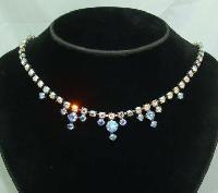 £26.40 - Vintage 50s Pretty Carnival AB Diamante Drop Necklace