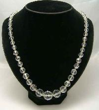 Vintage 50s Fab Quality Crystal Glass Bead Necklace Diamante Clasp
