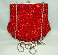 £44.00 - Vintage 80s Fab Red Glass Bugle Bead Scallop Design Evening Handbag