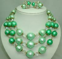 50s Signed Vendome 3 Row Green Pearl  Crystal Necklace and Earrings