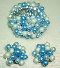 £38.40 - 1950s Teal Blue Pearl Crystal Bead Diamante Brooch and Clip Earrings