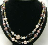 Vintage 50s 2 Row Faux Pearl & Art Glass Bead Necklace