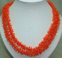 £18.40 - Vintage 60s Fab Long Bright Orange Lucite Plastic Coral Twig Necklace