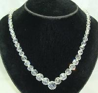 1950s Beautiful Faceted Crystal Glass Bead Necklace WOW