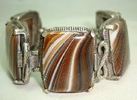 Vintage 60s Chunky Agate Brown and Cream Swirl Glass Bracelet Miracle
