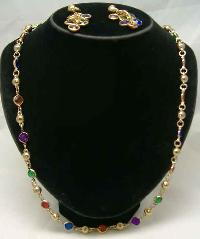 Vintage 60s Harlequin Diamante Gold Necklace & Earrings Set Fab