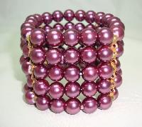 £25.60 - Beautiful Wide Purple Faux Glass Pearl Bead Stretch Cuff Bracelet Fab!