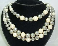 1950s Style 3 Row Faux Pearl & Silver Bead Necklace