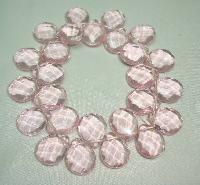 £16.00 - Beautiful Pink Faceted Crystal Glass Briolette Bead Stretch Bracelet