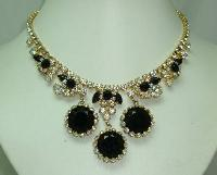 50s Spectacular AB Diamante Black Glass Stone Drop Elaborate Necklace