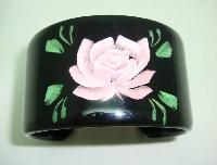 1950s Style Wide Black Pink Rose Reverse Carved Lucite Cuff Bangle Fab
