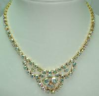 £27.60 - 1950s Sparkling AB Diamante Gold Cascade Drop Necklace