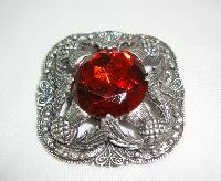Vintage 50s Signed Miracle Large Celtic Brooch with Amber Glass Stone