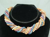 £16.80 - 1970s 5 Row Multicoloured Glass Bead Twist Necklace WOW