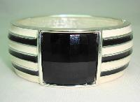 Classy Wide Black and Cream Enamel Black Lucite Cuff Clamper Bangle