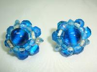 1950s Stunning Blue Glass Bead Flower Clip On Earrings