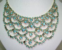 1950s Glam Aqua Blue Diamante Festoon Cascade Necklace Statement Piece