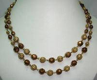 1950s 2 Row Gold Glass & Filigree Gold Bead Necklace