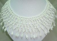 1950s Wide White Glass Bead Lattice Work Cleopatra Collar Necklace Wow