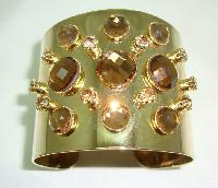 Fab Amber Coloured Diamante Goldtone Wide Cuff Bangle Statement Piece!