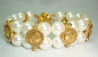 1980s 2 Row Glass Faux Pearl & Gold Ying Yang Bracelet