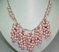1950s Style Pink Faux Pearl Bead Cluster Drop Necklace