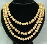 £16.80 - Vintage 50s 3 Row Peach Lucite Bead Necklace Fab Clasp!