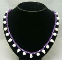 Vintage 50s Purple Lucite & White Bead Drop Necklace