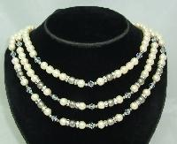 £18.00 - Vintage 50s 3 Row Faux Pearl & Diamante Bead Necklace