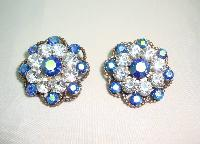 Vintage 50s Blue & Clear Diamante Flower Clip On Earrings