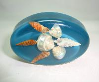 Vintage 1950s Large Quirky Sea Foam Green Lucite Shells Brooch