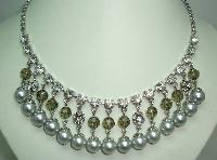 £36.00 - 50s Style Coast Faux Pearl Crystal and Diamante Drop Cascade Necklace