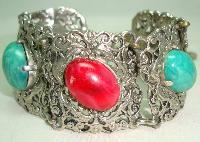Vintage 50s Wide Green & Red Glass Stone Ornate Silvertone Bracelet